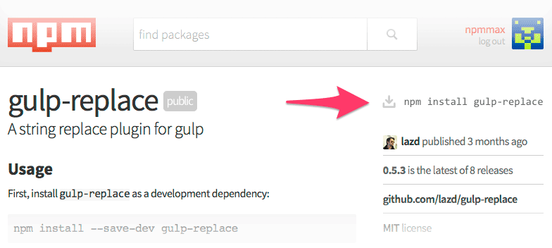 Gulp replace in npmjs