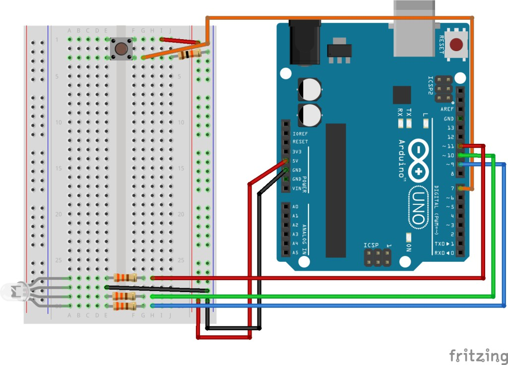 Button and RGB LED Sketch