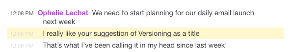 "Ophelie explains how she enjoys the name ""Versioning"""