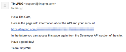 TinyPNG Developer Email Confirmation