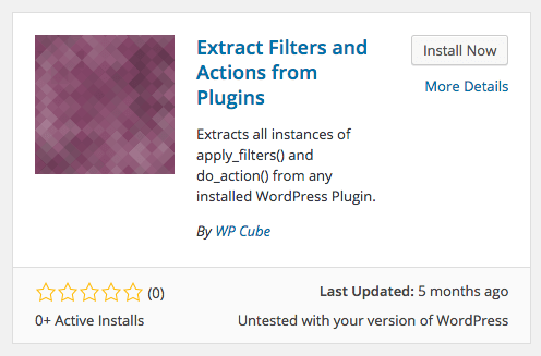 Extract Filters and Actions Plugin