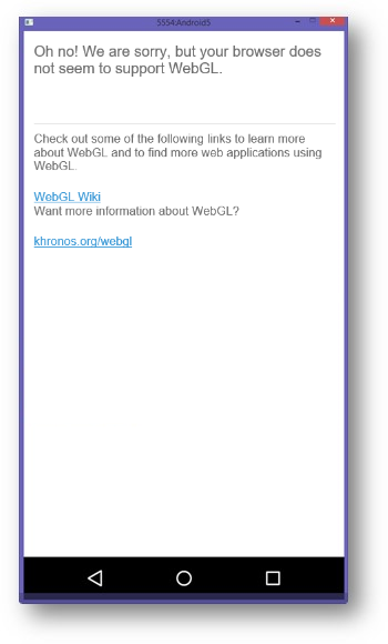 An error message indicating a device does not support WebGL