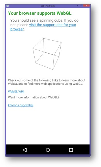 A message indicating a device does have WebGL support