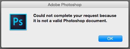 Photoshop Error Message