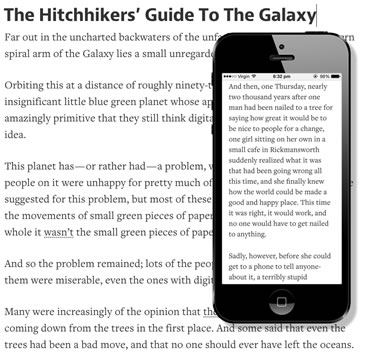 The same text on desktop and mobile - the utility of a paragraph disappears on small screens