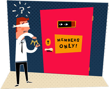 Illustration: Blindfolded person trying to find the correct key to enter a door. - By Alex Walker