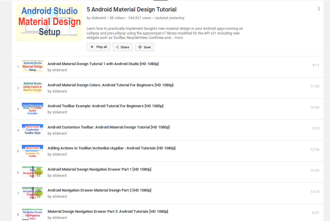 Material Design Video Tutorials