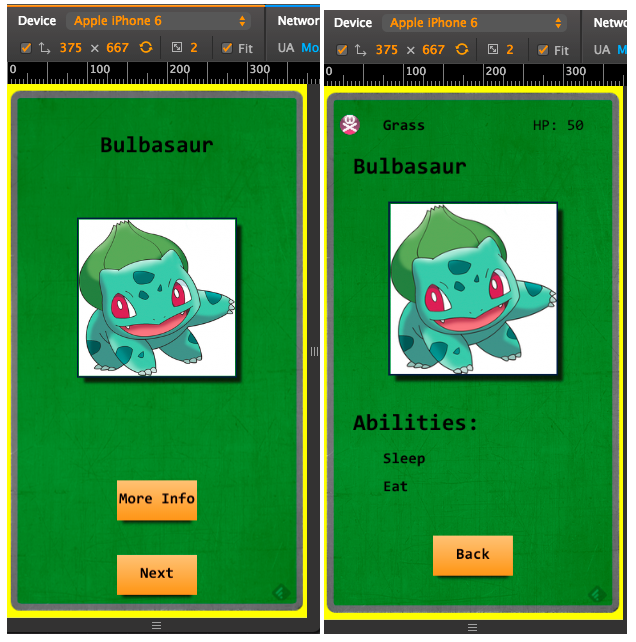 What the Pokedex app would look like on an iPhone 6 inside an emulator via the Chrome desktop browser