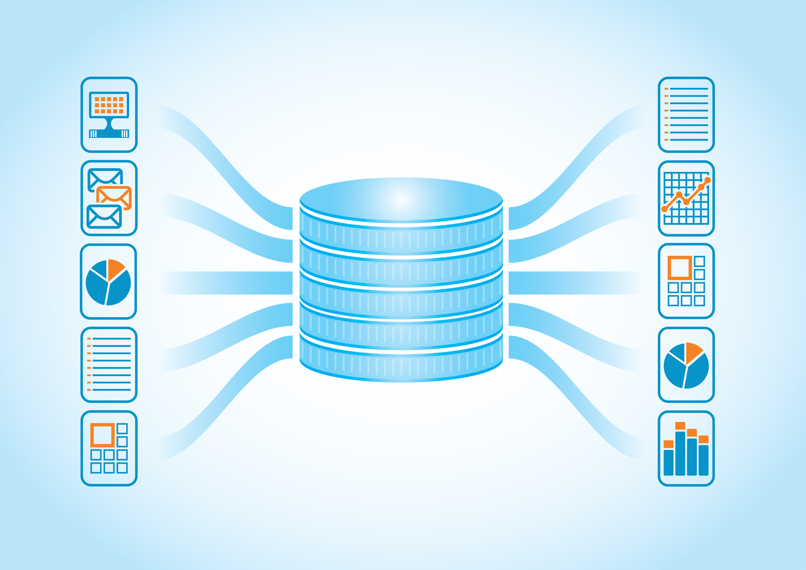Stock graphic of database icon branching into other icons