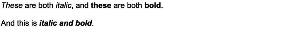 italics and bold