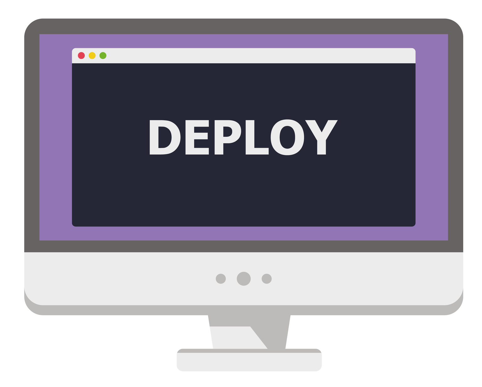 vector illustration of personal computer display showing window with deploy title isolated on white