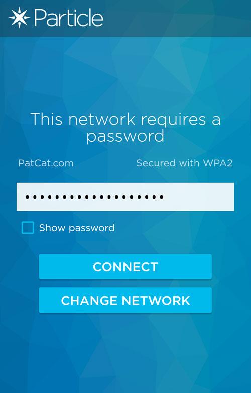 Entering Wi-Fi Password