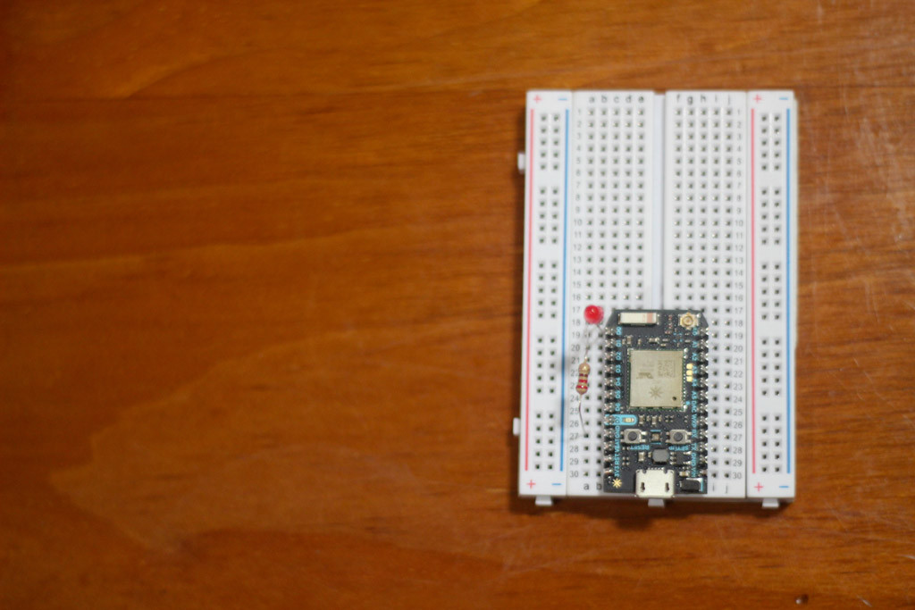 The Photon Connected To An LED