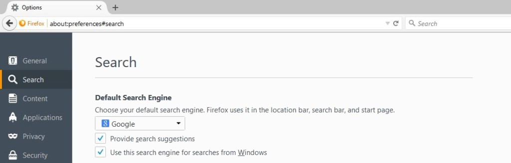 changing search preferences