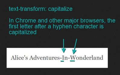 first letter after a hyphen character is turned into uppercase in Chrome and all other major browsers when capitalize value is applied