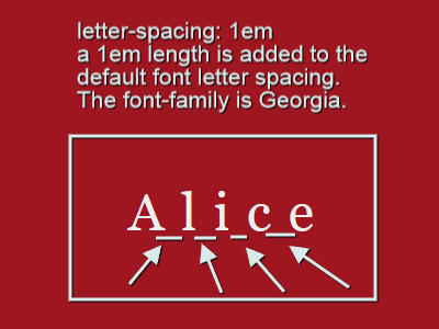 letter-spacing value set to a length of 1em
