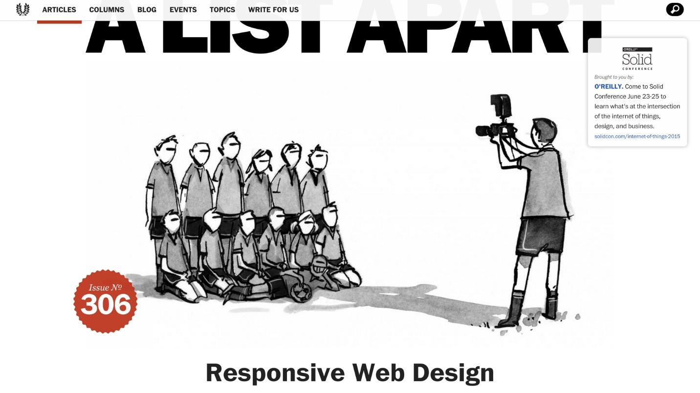 A Screenshot of the famous A List Apart article introducing responsive web design