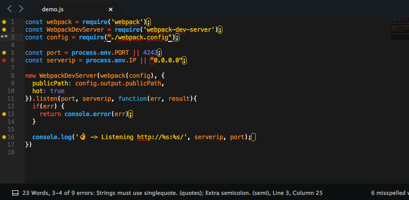 Screenshot of the SublimeLinter plugin highlighting some problem code and displaying the error in the status bar