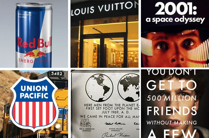 Red Bull, Louis Vuitton, 2001:a Space Odyssey, The Social Network, The Apollo 11 Moon plaque and Union Pacific (Clockwise)