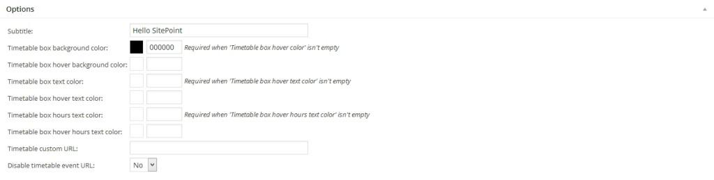 Responsive Timetable Plugin Colors