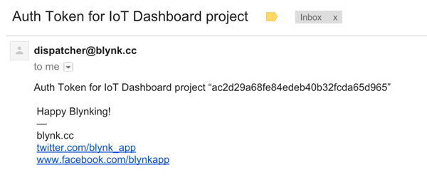 The Blynk Auth Email