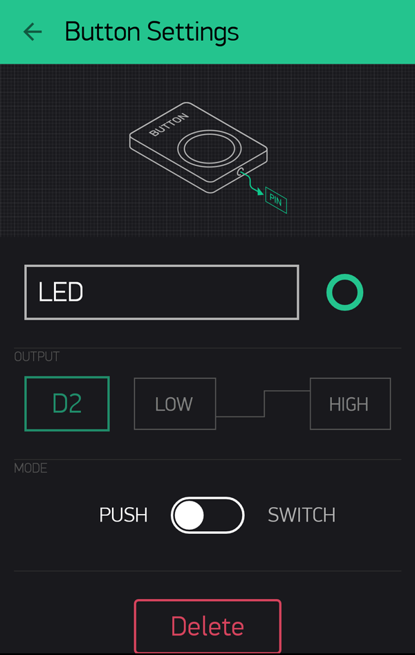 Blynk LED Button Settings