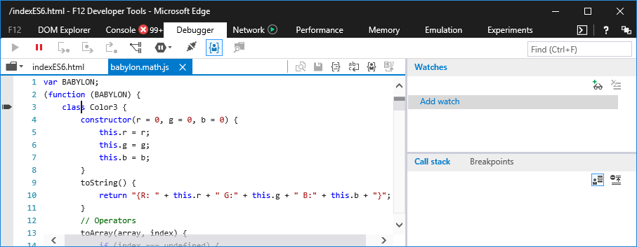Microsoft Edge developer tools