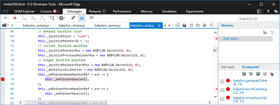 Debugger tab virtualJoystick.js