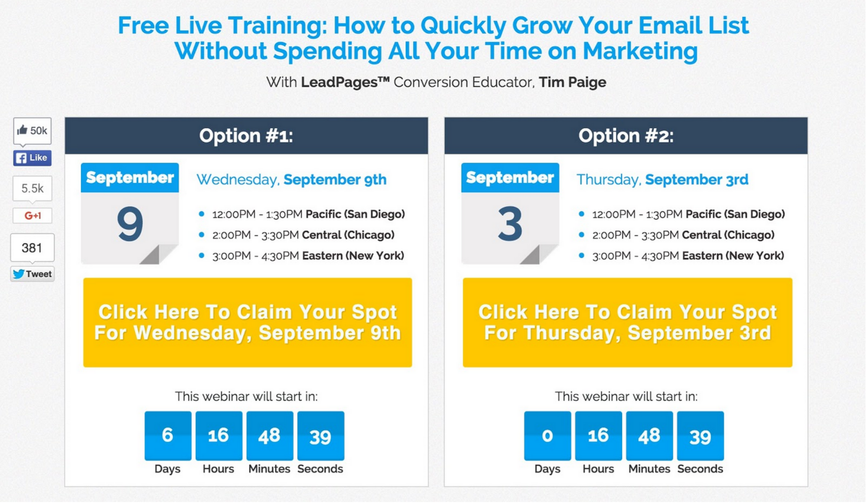 Leadpages uses its own webinar features to power content marketing initiatives