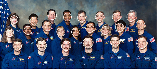 NASA Astronaut Group 15 — faces highlighted after face detection