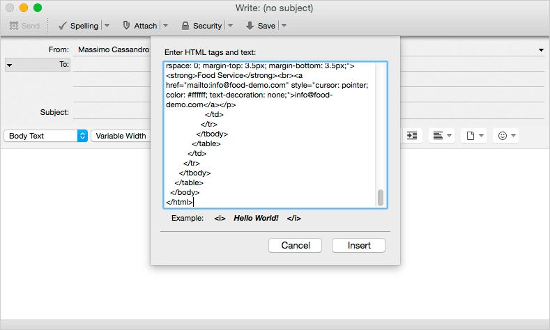 Thunderbird paste HTML window