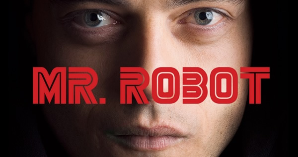 Mr Robot text super-imposed over face