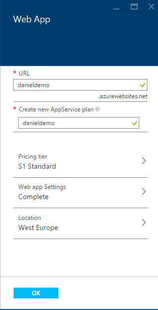 Web App settings