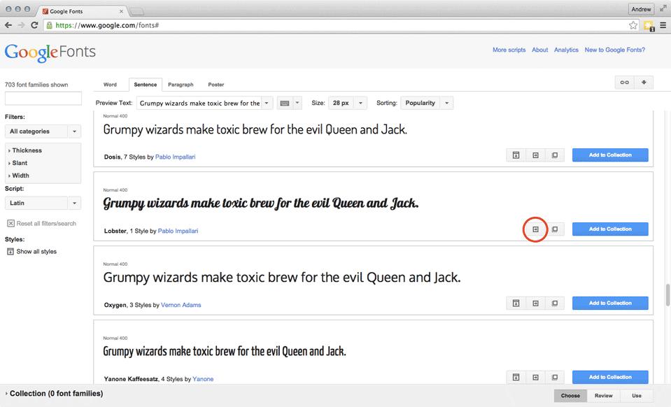 Google Fonts Full Screen