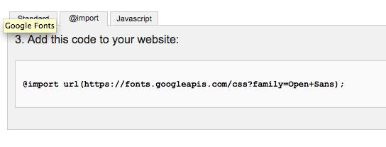 Google Import Tab Code Selection
