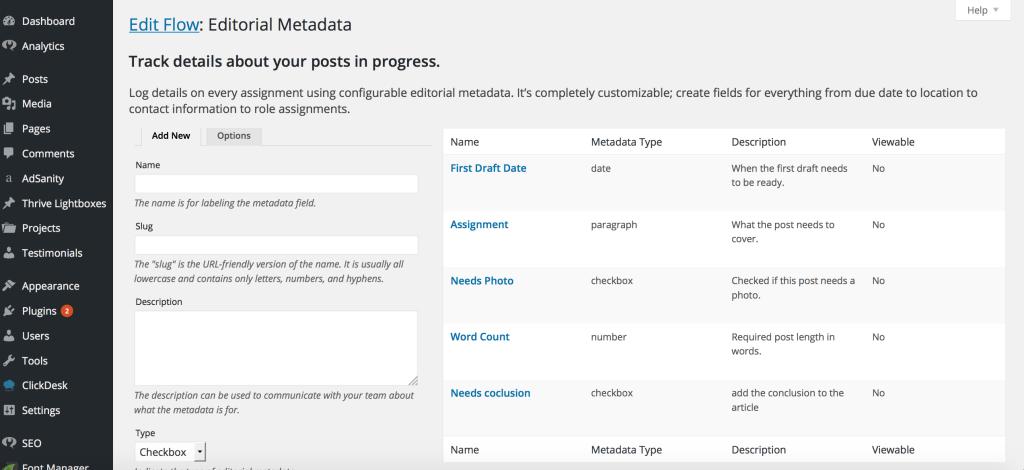 editorial metadata details