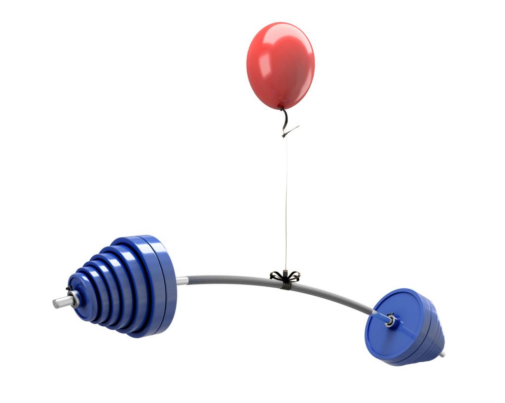 Balloon lifting a barbell