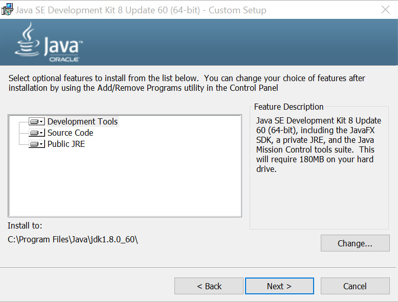 The Java Install Screen