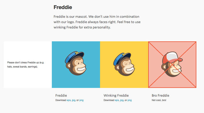 Mailchimp set rules for using Freddie.