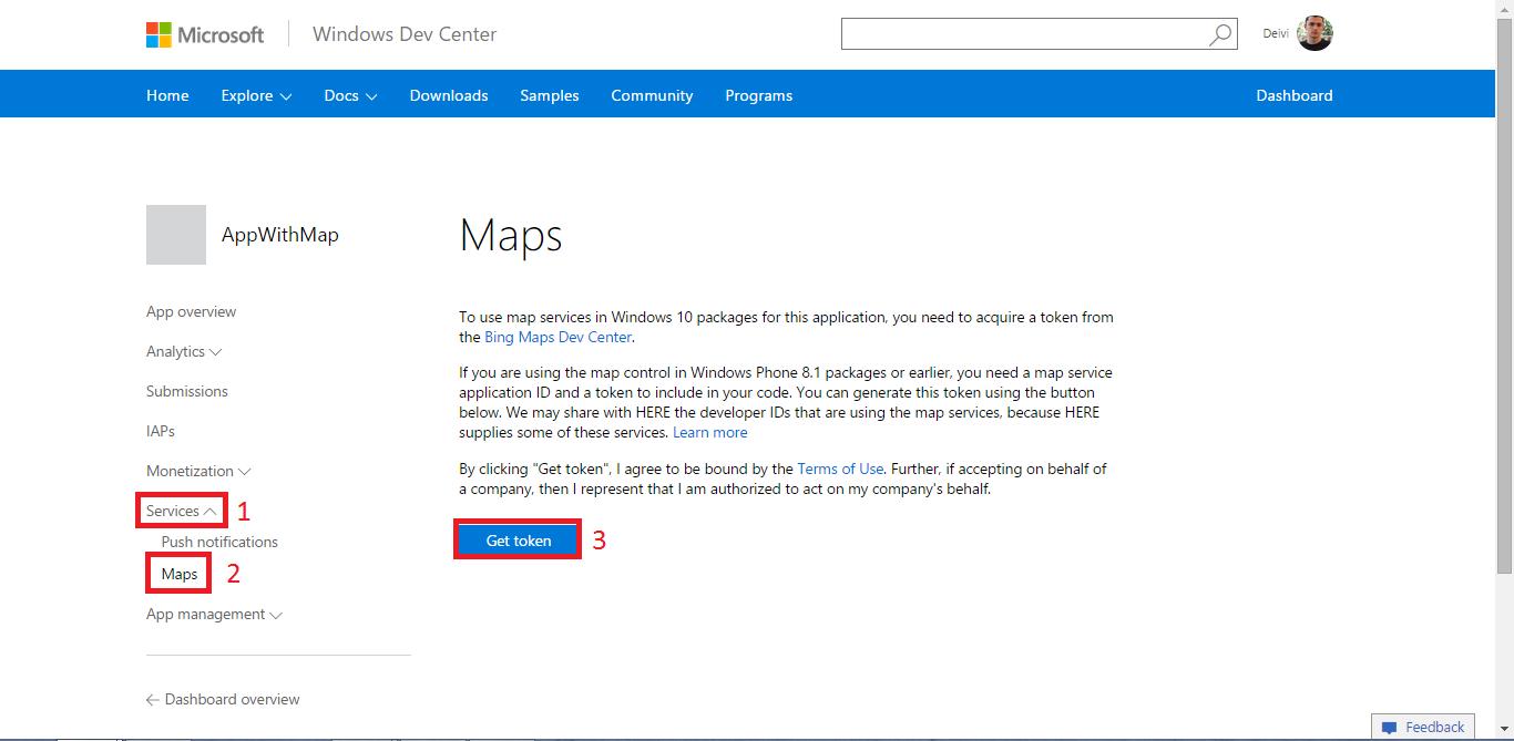 Map Service get token