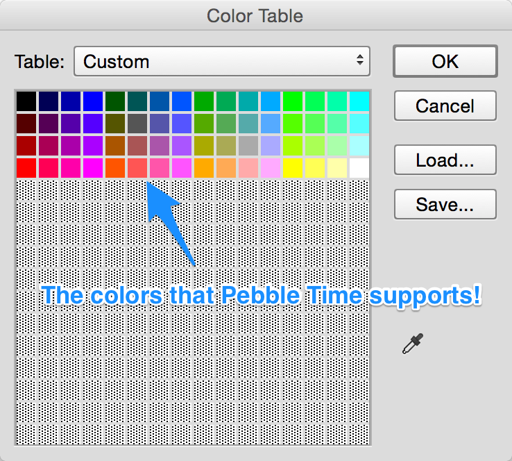 The 64 color palette loaded in Photoshop