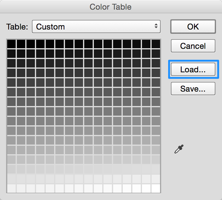 Loading a custom palette in Photoshop