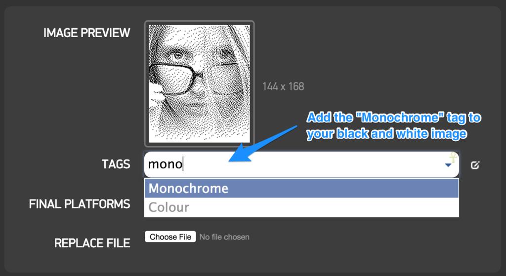 Tagging monochrome image