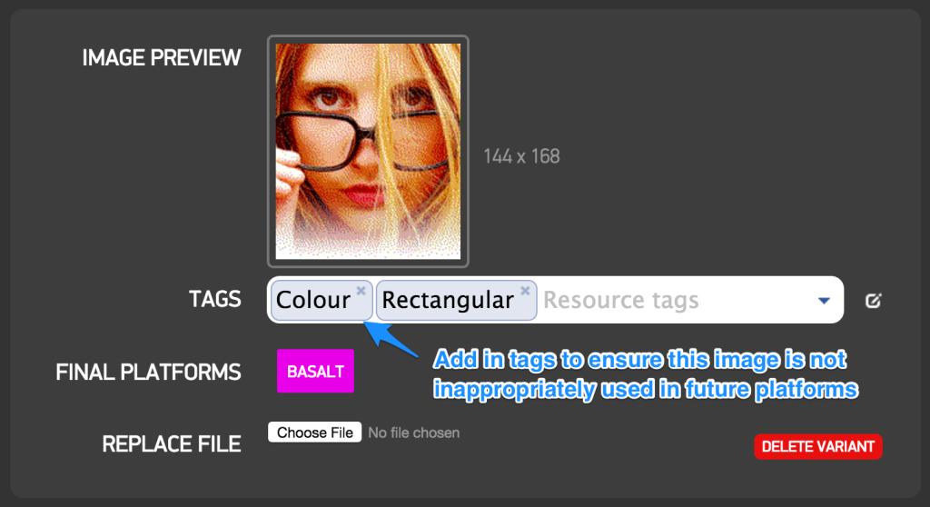 Tagging rectangular color image
