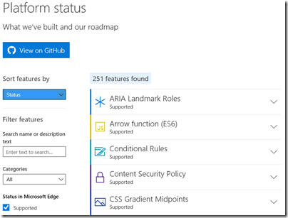 Microsoft Edge platform status section