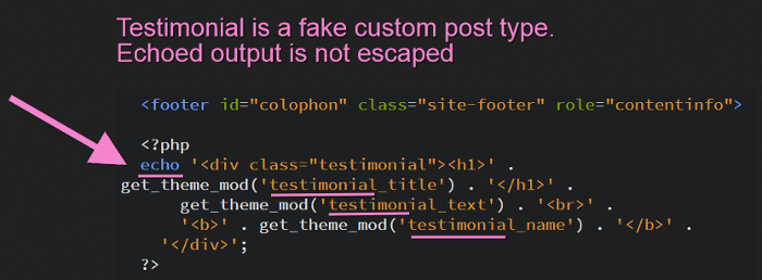 Customizer implementation in the footer