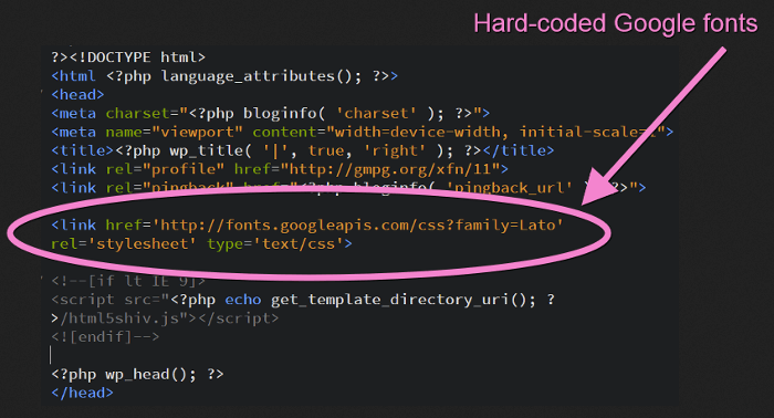 The head part of header.php file