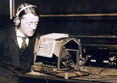 A blind user with the Optophone.