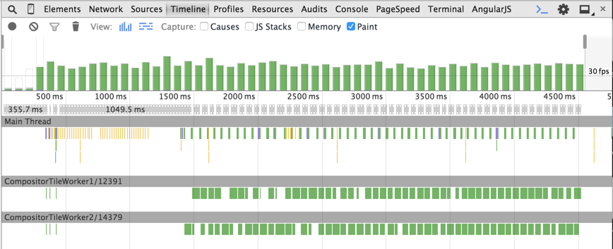 DevTools Timeline during the animation with left and top
