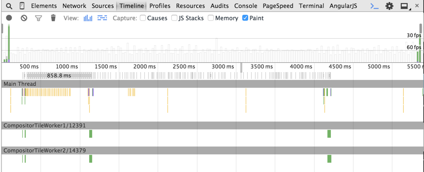 DevTools Timeline during the animation with CSS transform